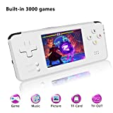 Handheld Game Console, Retro TV Game Console 3 Inch HD Screen 16GB 3000 Classic Game Console , Entertainment System Portable Video Game Support GBA / CP1 / CP2/GBC /GB/ SEGA / NEOGEO (T-White)