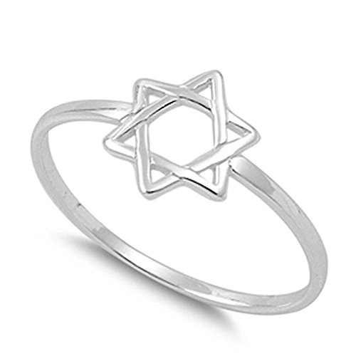 Star of David Religious Unique Ring New .925 Sterling Silver Band Size 5