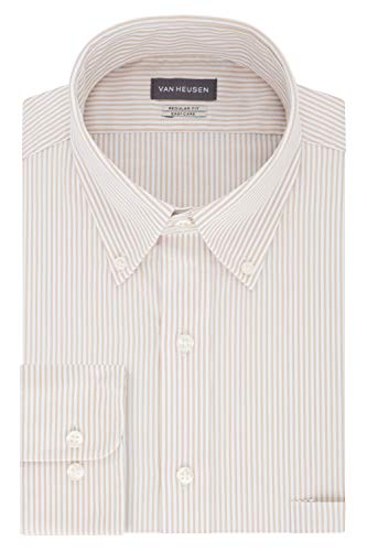 Van Heusen Men's Pinpoint Regular Fit Stripe Button Down Collar Dress Shirt, Birch, 16