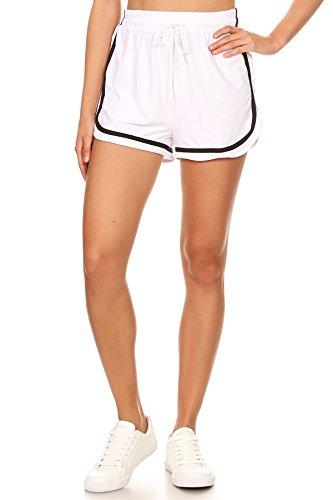 MissMissy Women's Casual Workout Running Yoga Drawstring Side Stripped Waist Shorts (Small, White) ()