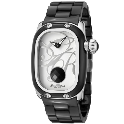 Glam Rock Women's 'Monogram' Swiss Quartz Stainless Steel and Ceramic Casual Watch, Color:Black (Model: GR72015)