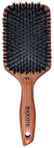Spornette DeVille Cushion Paddle Boar Bristle Hair Brush (#344) with Wooden Handle Best for Straightening, Smoothing, Detangling & Styling All Hair Types for Women, Men, and Children