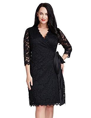 LookbookStore Women's Plus Size Lace 3/4 Sleeves Formal Cocktail True Wrap Dress
