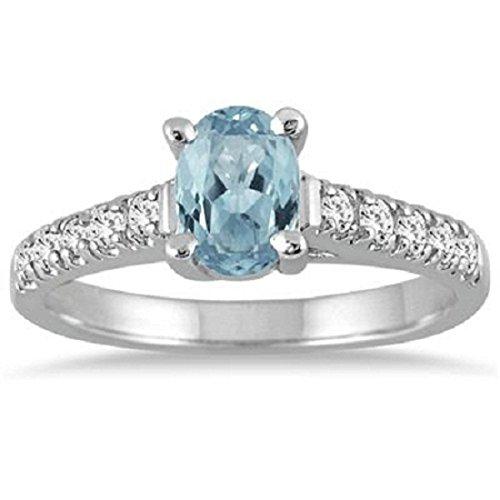 Gold Oval Aquamarine Ring (Silvercz Jewels 1.25 Carat Oval Aquamarine And Sim. Diamond Ring In 14K White Gold Over)