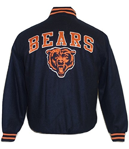 Bears Heavyweight Chicago Jackets - Licensed Sports Apparel Chicago Football Bears Men's Embroidered Full Zip/Button Up Wool Jacket - Medium