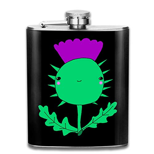 (Kawaii Cute Wee Scottish Thistle Stainless Steel Flask Personalized Flask Whiskey Vodka Alcohol Hip Flask for Men Travel Climbing Fishing Camping,7OZ)