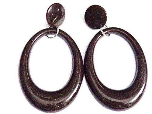 Brown Hoop Earrings Drop Oval Hoop Earrings 3.5 inch Long