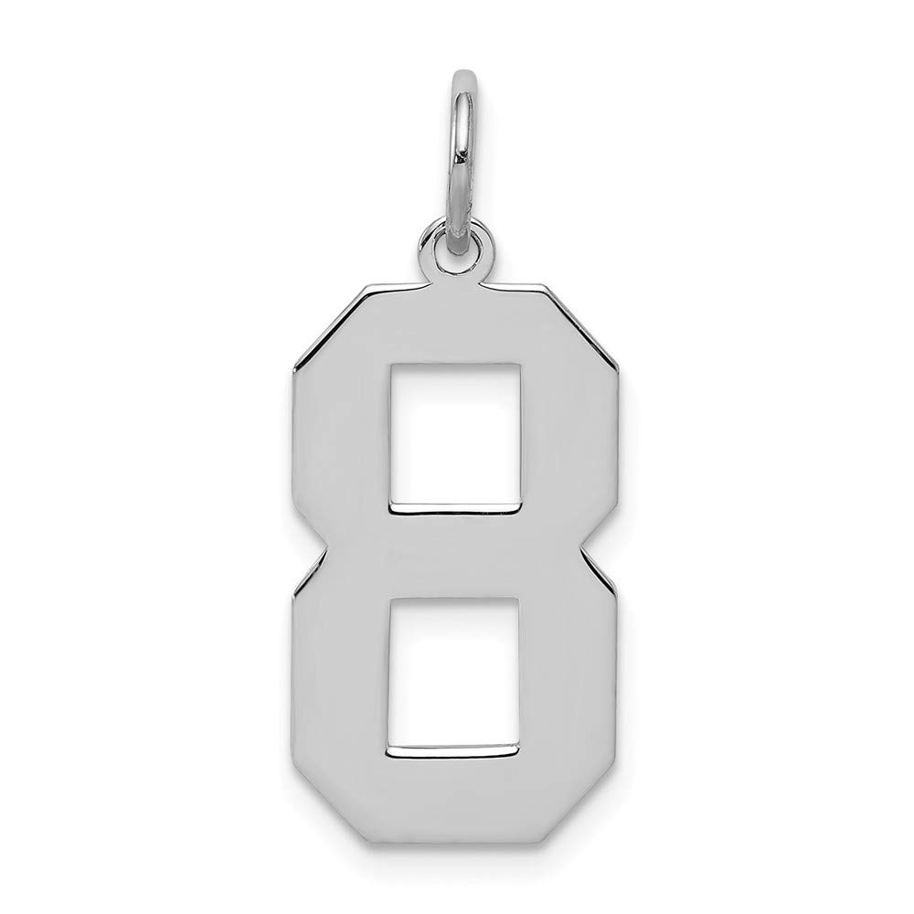 Jewel Tie 925 Sterling Silver Large Polished Number 8 10mm x 24mm