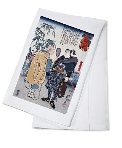 Samurai Miyamoto Musashi - Japanese Wood-Cut (100% Cotton Kitchen Towel)