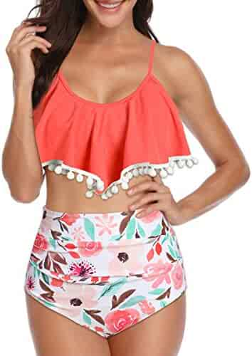 e965d97e163 Zando Women Retro Flounce High Waisted Bikini Halter Neck Two Piece  Swimsuit Bikini Set Tankini Top