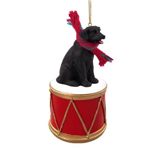 Little Drummer Black Labrador Christmas Ornament - Hand Painted - Delightful by Animal Den