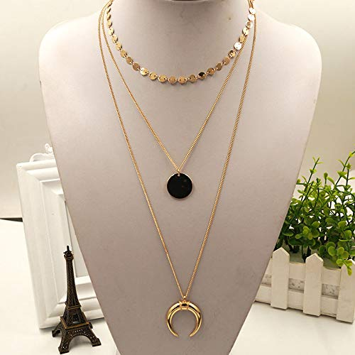 (Geo Coined Circle Tusk Triple Layered Necklaces | Gown Unique Trendy Pop Rock Cute Pendants)