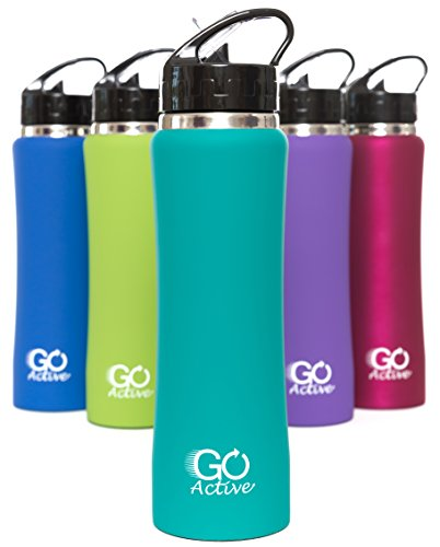 Stainless Steel Insulated Water Bottle with flip straw and sweat-proof rubber grip. 24oz H2O Sports drinking bottle is Bpa Free Eco Friendly, Portable, Durable, Good for Kids, keeps ice over 20 hours (Sports Sip Bottle compare prices)