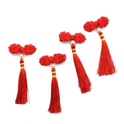 Rugjut Chinese Knot and Tassel Hair Dress, Girls Headpicece Hairpin, 2 Pairs -