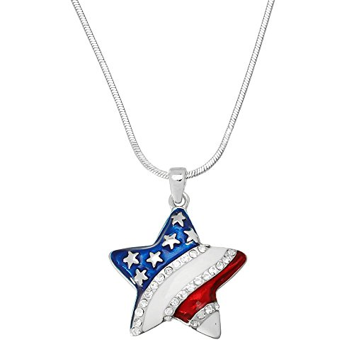 USA Flag Star Pendant Necklace Rhinestone Crystal Hand Painted High Polished Rhodium - Star Glasses Tiffany