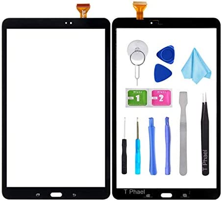 T Phael Black Touch Screen Digitizer for Samsung Galaxy Tab A 10.1 – Glass Replacement Parts for T580 T585 SM-T580 SM-T585 2016 (Not Include LCD) with Tools Kit + Pre-Installed Adhesive