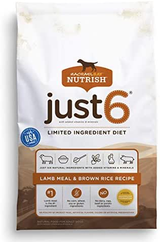 Rachael Ray Nutrish Just 6 Limited Ingredient Diet, Lamb Meal & Brown Rice Recipe Dry Dog Food, 28 Pounds