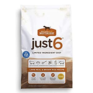 Rachael Ray Nutrish Just 6 Limited Ingredient Diet, Lamb Meal & Brown Rice Recipe Dry Dog Food, 28 Pounds 24
