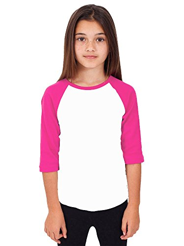 Hat and Beyond RD Kids 3/4 Raglan Sleeves T Shirt Child Youth Slim Fit T Shirts (Medium (6-7 Year), White/Pink) (Youth Tee Baseball)