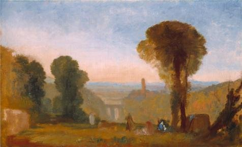 [Oil Painting 'Joseph Mallord William Turner - Italian Landscape With Bridge And Tower,1827-1828' Printing On Perfect Effect Canvas , 12x20 Inch / 30x50 Cm ,the Best Study Decor And Home Artwork And Gifts Is This Imitations Art DecorativeCanvas] (Dead Poets Society Costume)