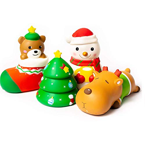 SYYISA Christmas Squishies Slow Rising Christmas Santa Jumbo SQUISHIES Pack: Gift Bag Includes Snowman, Stocking, Christmas Trees, and Festive Reindeer Kawaii Soft Squishy Toys - Super Gift! 4 Pack -