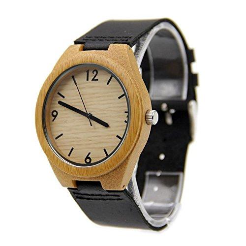 Biao&MZ La nueva madera relojes Unisex natural madera bambú par de reloj correa de cuero regalo usable accesorios , black