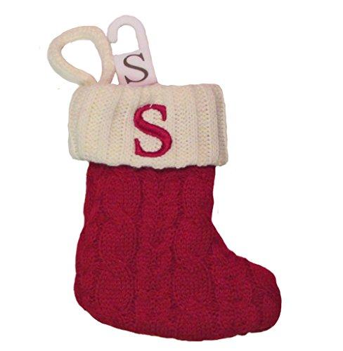 """St. Nicholas Square Mini Cable Knit Stocking-Letter S, Mini 7"""""""