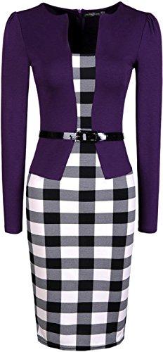 WKD177 Manica Elegante Purple Abiti jeansian Bodycon Donna Plaid Ufficio Sottile Da Signora Lungo Lunga Ginocchio qOf6O4SB