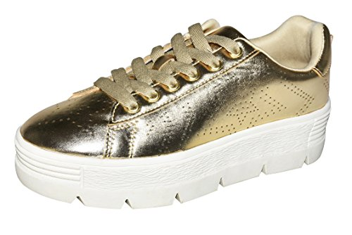 ROXY ROSE Platform Shoes for Women Quilted Shoelaces Square Toe Fashion Sneaker (8 B(M) US, Gold)