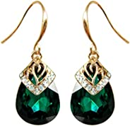 Navachi 18k Gold Plated Crystal Water Drop Flower Pattern Multicolor Zircon Dangle Drop Earrings