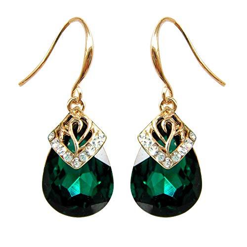 - Navachi 18k Gold Plated Crystal Water Drop Green Zircon Dangle Earrings Women