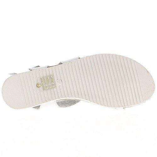 A piedi nudi bianco tacco 2cm con flange alla caviglia ed entre-doigt