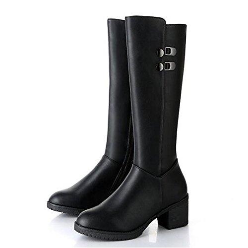 molla di Stivali Calf scarponi nero Heel Mid Black pu rientrano ZHZNVX la Scarpe donna Casual Stivali moda Chunky UK6 US8 EU39 CN39 per HSXZ comodità vqw4x8FZI