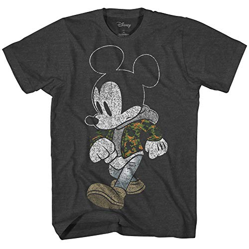 (Mickey Mouse Camo Hyped Disneyland World Retro Classic Vintage Tee Funny Humor Adult Mens Graphic T-Shirt Apparel (Small, Premium Charcoal Heather))