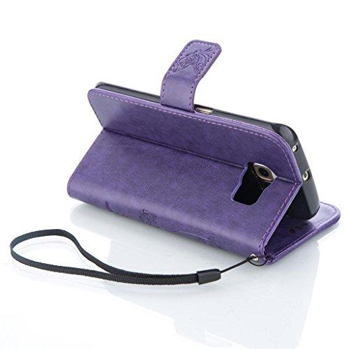 Erdong® Magnético Folio Flip Caso Con pata de cabra titular de la tarjeta Para Samsung Galaxy S6 edge G925F, Elegant Simple Book-style [Púrpura flor de mariposa] patrón de impresión cuero del soporte