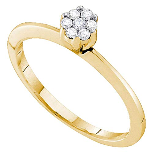 (10kt Yellow Gold Womens Round Diamond Flower Cluster Ring 1/8 Cttw)