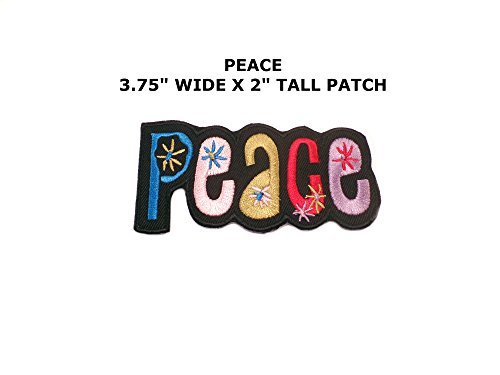 [Peace sign hippie boho retro flower power summer of love hippy applique iron-on patch new] (Super Mario Flower Power Costume)
