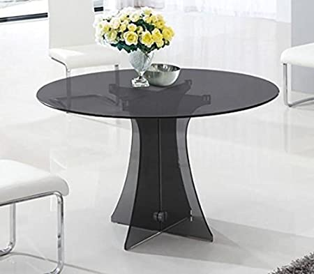 Astoria Round Smoked Glass Dining Table Only Amazon Co Uk Kitchen Home