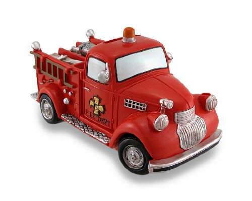 Antique Toys Fire Engine - Zeckos Resin Toy Banks Bright Red Fire Truck Coin Bank Vintage Style Fire Engine Piggy Bank 7 X 4 X 3.5 Inches Red