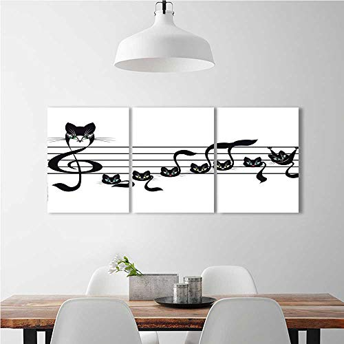 aolankaili Triptych Combination of Decorative Painting Frameless Notes Kittens Cat Notation Tune Halloween Style Black Green Blue for Wall Decor W14 x H30 x 3pcs for $<!--$32.99-->