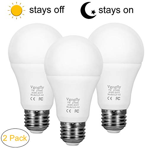 Dusk to Dawn Light Bulb Sensor Smart LED Outdoor Lighting Bulbs Lamp 7W E26/E27 Automatic On/Off, Indoor/Outdoor Yard Porch Patio Garden (Warm White, 3 Pack) For Sale