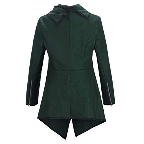 irregular larga de cuello de cálido de manga de lana Green Abrigo Color de ZFFde Invierno dobladillo invierno de L tamaño cazadora q64w8xOA