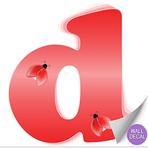 Bugs-n-Blooms Wall Decals Letter d Red Ladybug Letters Baby Name Decal Stickers Decorative Alphabet Decor - Children's Room, Baby's Nursery, Girl's Bedroom, Kid's -