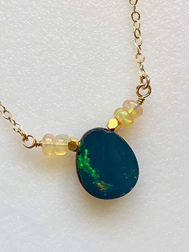 Opal Necklace, Australian Boulder Opal, Ethiopian Welo Opals, Opal Doublet, Delicate Opal Necklace, 14K Gold -