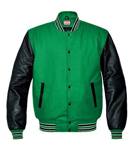 Orginal American Style Varsity Leather Biker Letterman College Men Wool Jackets Green-black and White Stripe Small (Black Leather Green Stripe)