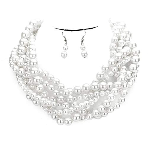 Fashion 21 Women's Simulated Faux Braided, Twist Multi-Strand Pearl Statement Necklace and Earrings Set (Braided - White)