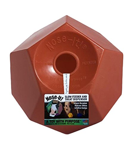 Nose-It! Equine Ball Funnel Fill Treat Dispenser & Slow Feeder ''A Toy with Purpose'', 10'' L x 10'' H x 10'' W, Red