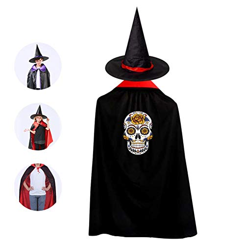Day of the Dead Mask Children's Halloween role playing cloak and Wizard Hat Halloween Dance Dress decoration Red