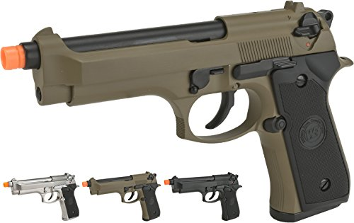 Evike - WE-USA NG3 M9 Heavy Weight Airsoft GBB Professional Training Pistol - Tan - (52651) (Gbb Pistol)