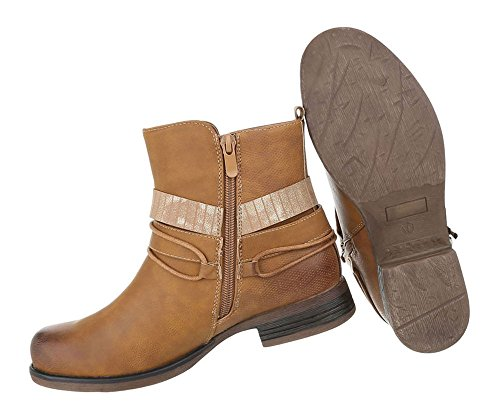 Damen Stiefeletten   Biker Boots Schnalle Kette   Knöchelhohe Stiefel Leder-Optik   Worker Boots   Blockabsatz Schuhe   Kurzschaft Stiefelette   Schuhcity24 Camel